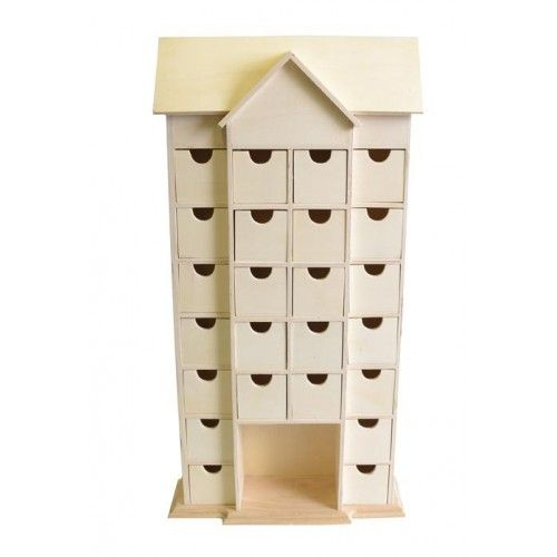 24 Drawer House Shaped Advent Calendar With Inner Box Frame To Decorate Ed Wooden Bo Products Christmas Cyber