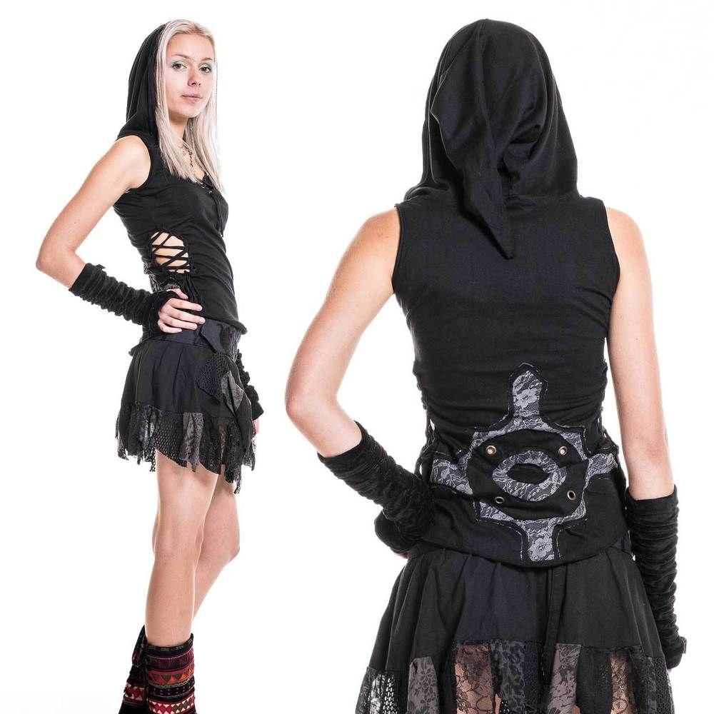 Gothic pixie top emo pixie punk psy trance festival wear