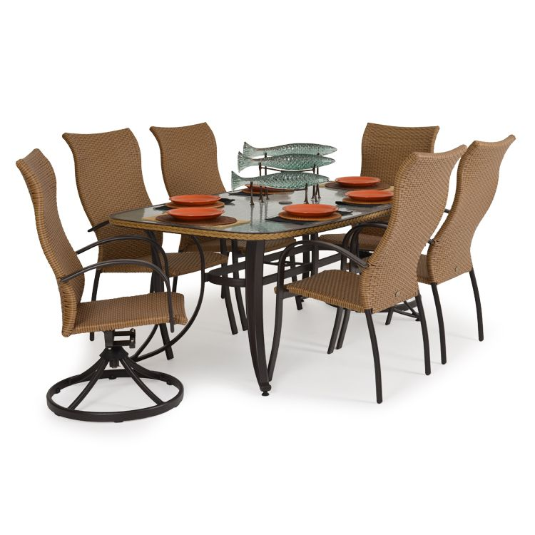 Empire Outdoor Wicker 7 Piece High Back Dining Set Coconut Outdoor Wicker Casual Furniture Outdoor Furniture Sets