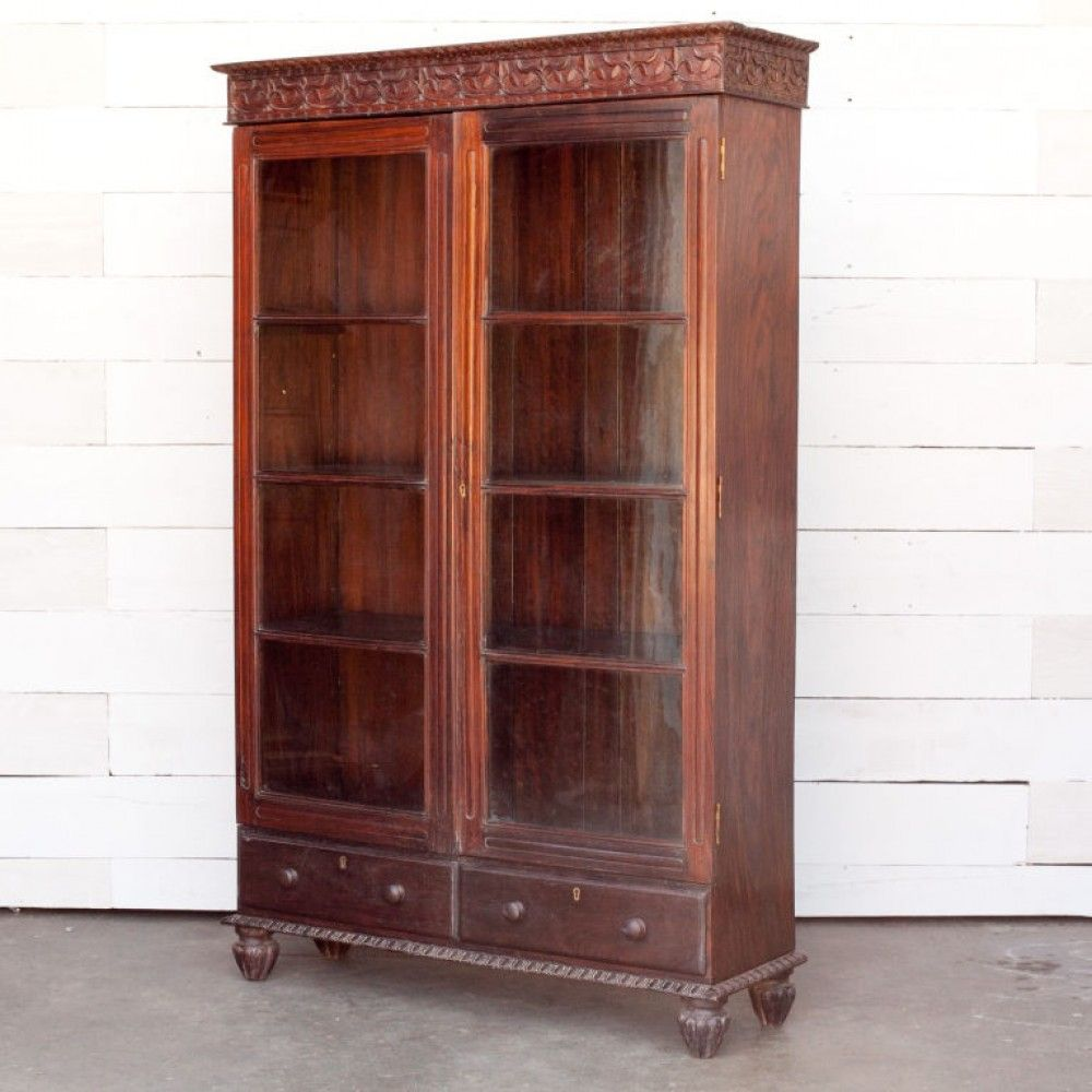 Anglo indian rosewood bookcase with glass front doors