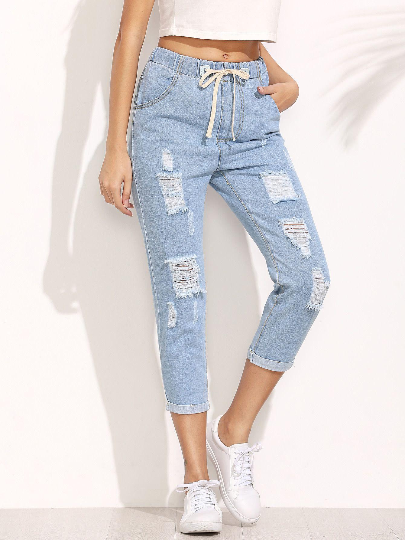 Pantalones rotos cordón denim - azul-Spanish Romwe Sitio Móvil 9235618d6779