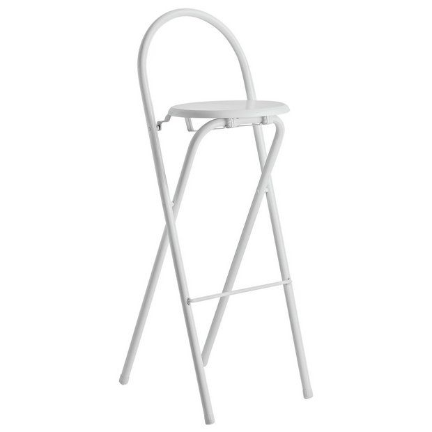 Argos Kitchen Bar Table And Chairs: Habitat Macadam Metal Folding Bar Stool - White