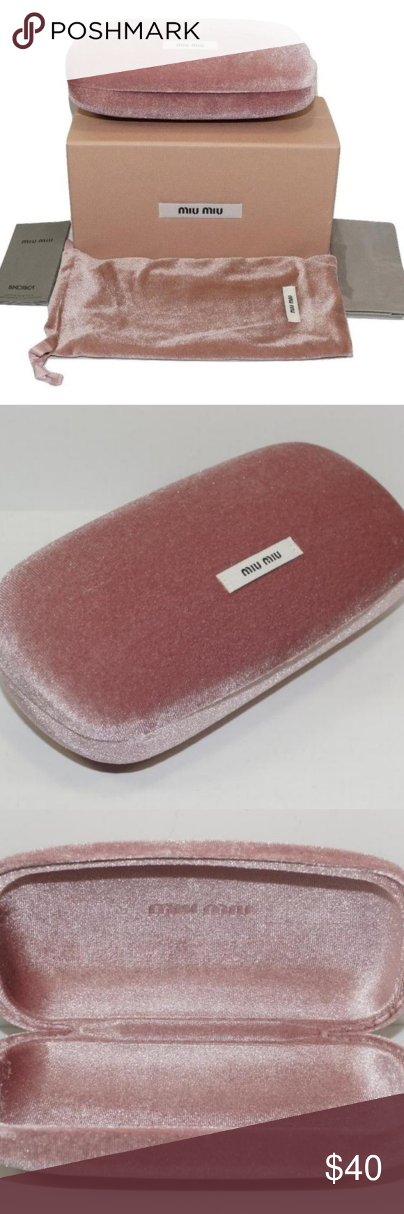 f1b5f67df87f Miu Miu Pink Velour ClamShell Hard Sunglasses Case Brand New 100% Authentic MIU  MIU SUNGLASSES