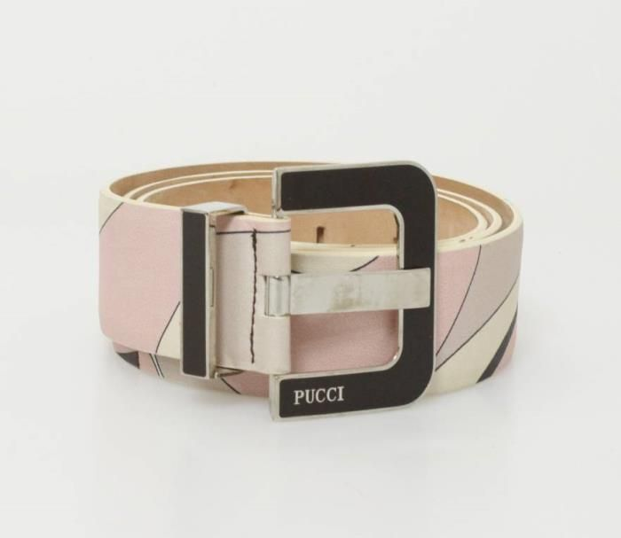 Emilio Pucci Belt (Women's Pre-owned Brown & Pink Printed Leather Belt)