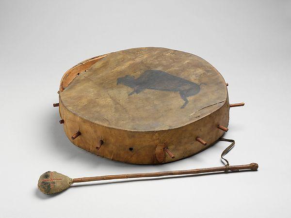 Frame Drum Date: 19th century Geography: United States Culture: Native American (Dakota) Medium: wood, various materials