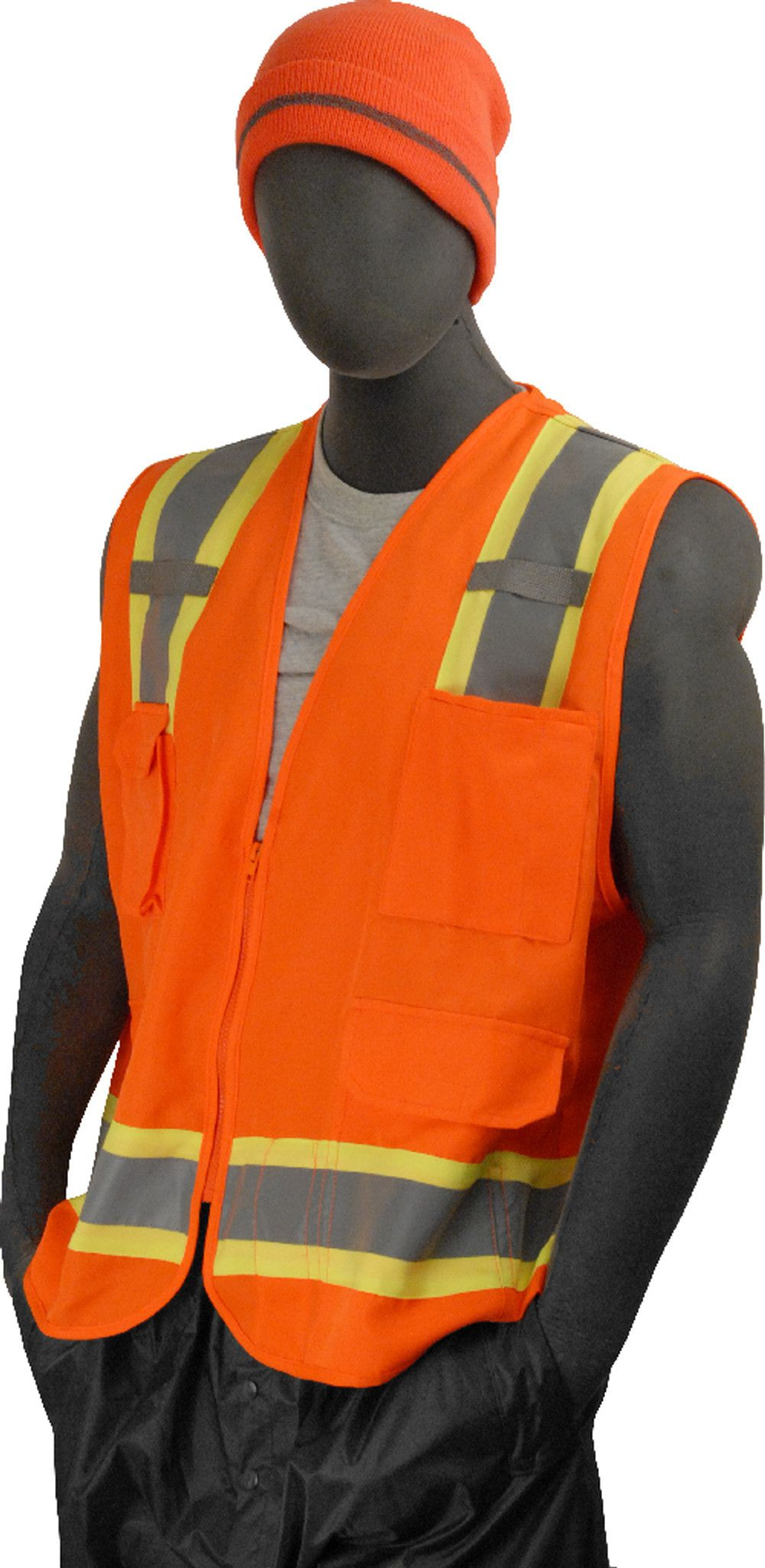 Majestic 753222 Hi Vis Orange Surveyor's Safety Vest ANSI