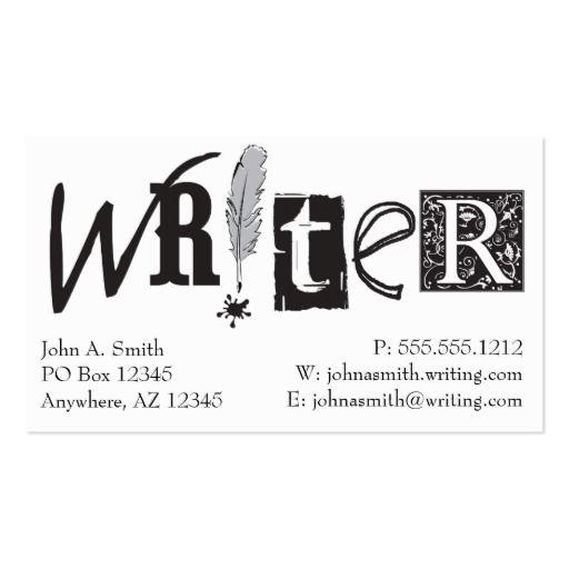 Writer Cards Zazzle Com Business Card Inspiration Teacher Business Cards Business Card Branding