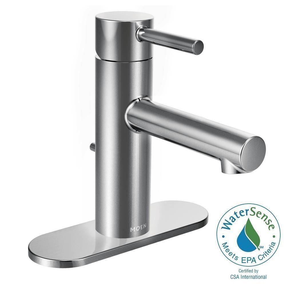 MOEN Align Single Hole 1-Handle Bathroom Faucet in Chrome (Grey ...