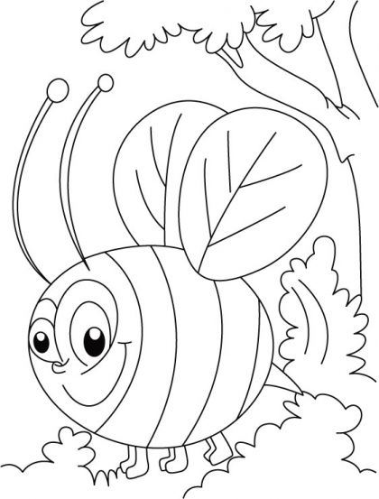 get free bee coloring pages for kids to print and color - Bee Coloring Page