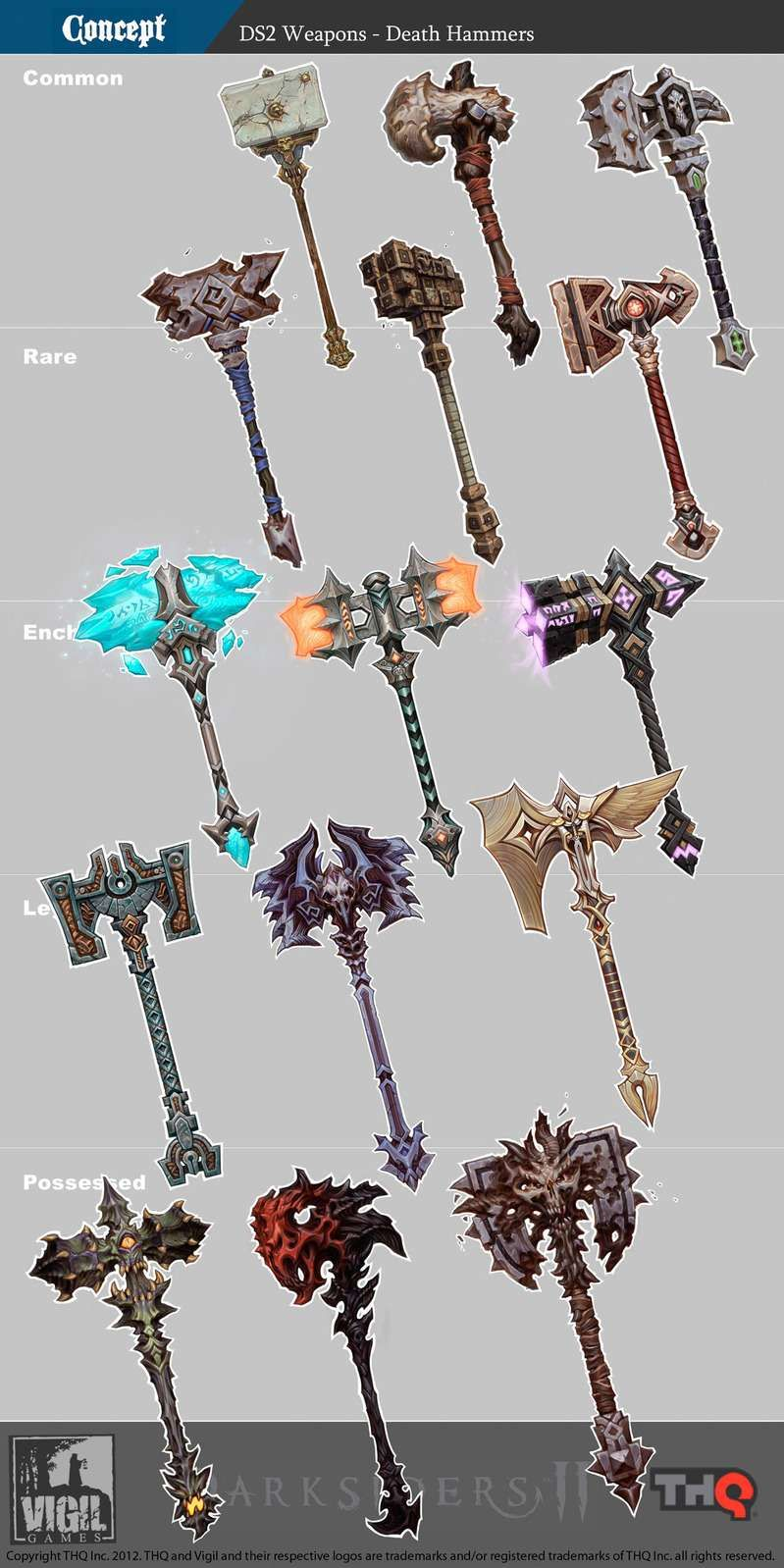 Concept art of Hammers from Darksiders 2 by Jonathan Kirtz