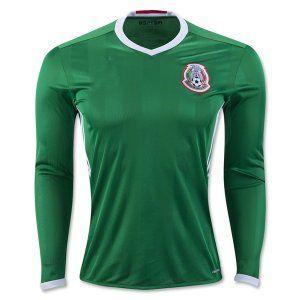 96f94500e 2016 Mexico Soccer Team Home Long Sleeve Green Replica Shirt  E301 ...
