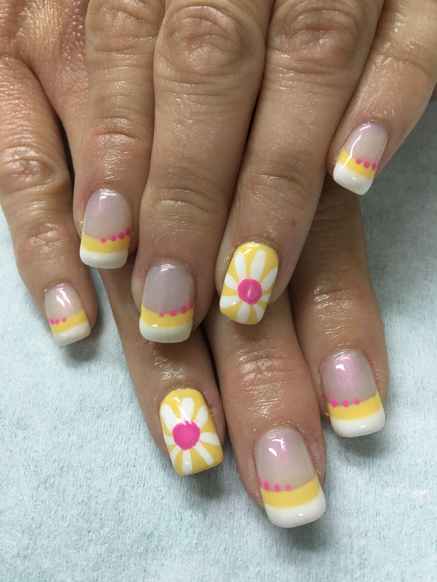 Summer White, Yellow, Pink Daisy Polka Dot French gel nails | Gel ...