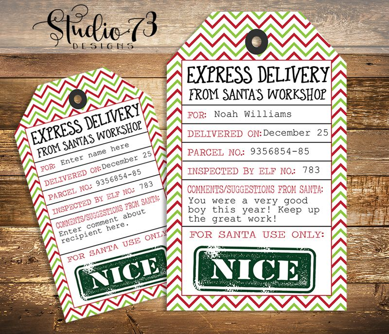 Special delivery from santa's workshop | editable christmas gift.