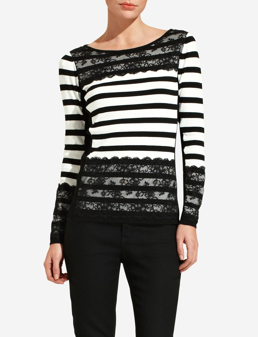 Just bought this last week. So pretty. Lace Overlay Stripe Sweater ...
