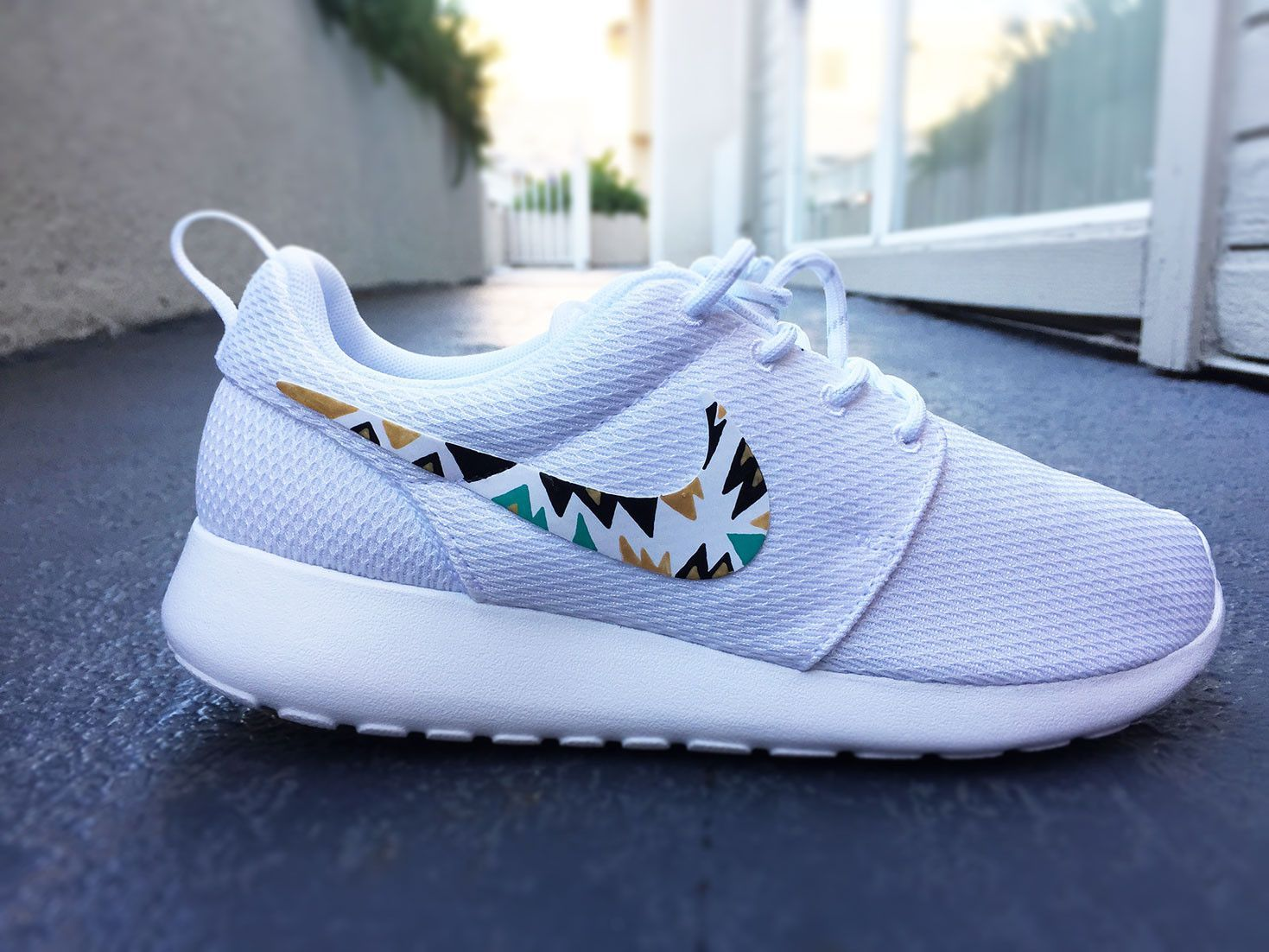 quality design 45c8c 7bc77 Custom Nike Roshe Run sneakers for women, All white, Black and Gold,  Silver, tribal, triangle design, fashionable design