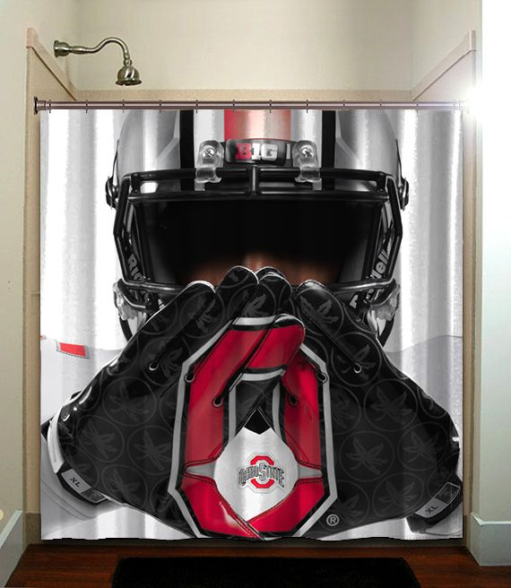 Ohio State Buckeye White COLLAGE FOOTBALL NCAAF Shower Curtain Bathroom