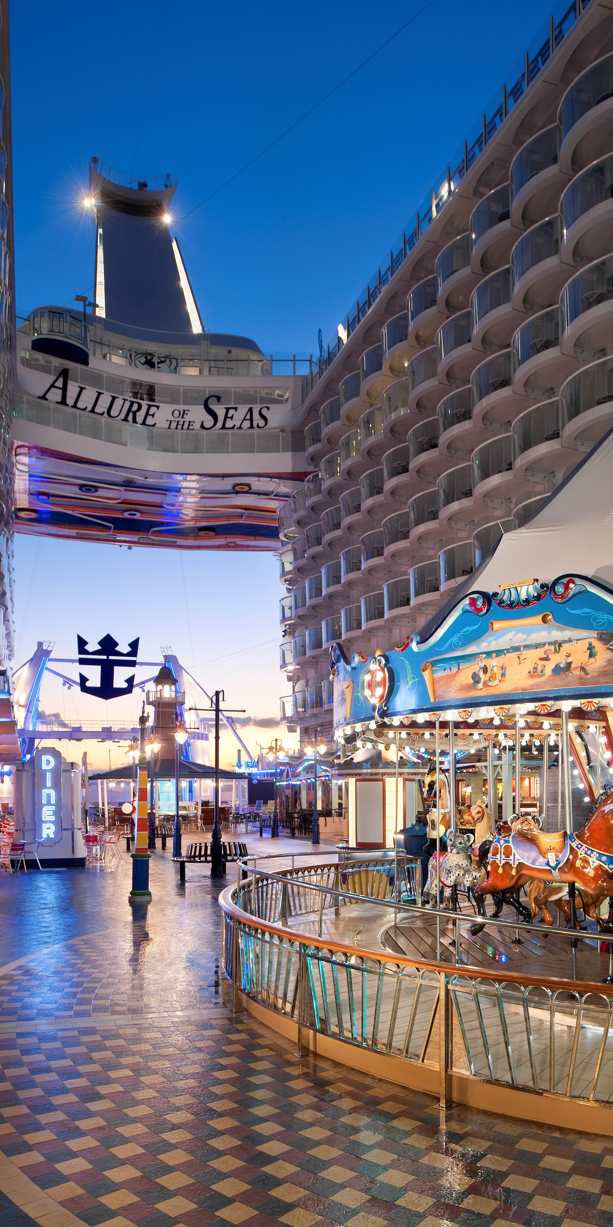 Allure Of The Seas Immerse Yourself In The Boardwalk Neighborhood Of This Oasis Class Ship Where Y Royal Caribbean Cruise Ship Cruise Travel Cruise Vacation