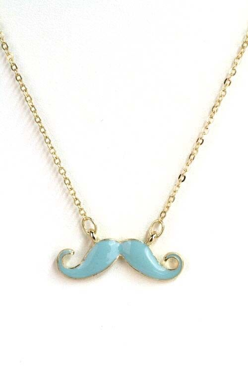Necklace  Hipster Movement Enamel Mustache Necklace in Teal is part of Clothes Hipster Necklaces - DetailsNecklace  Hipster Movement Enamel Mustache Necklace in Teal A small enamel mustache necklace  Measures 1 2 in wide  Imported