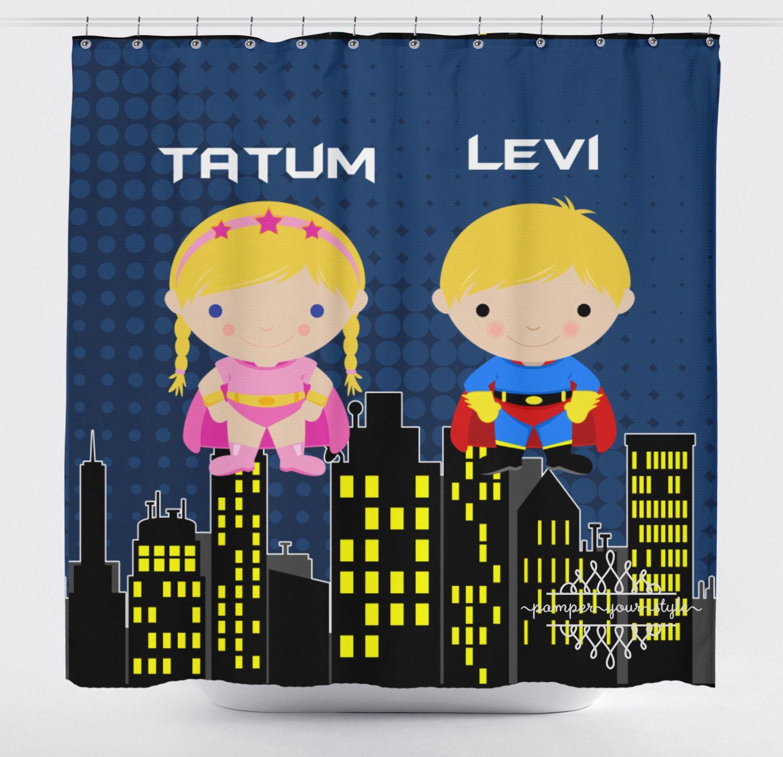 Super hero shower curtain superheroes silbling curtain for Superhero shower curtain