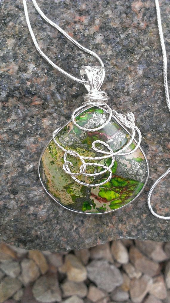 Silver Green Sea Sediment Jasper and Pyrite Necklace by SimpleGem, $26.00