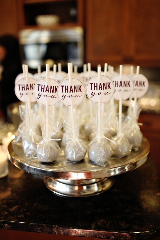 Travis rhiannon s couple shower cake pop bridal for Pinterest thank you gift ideas