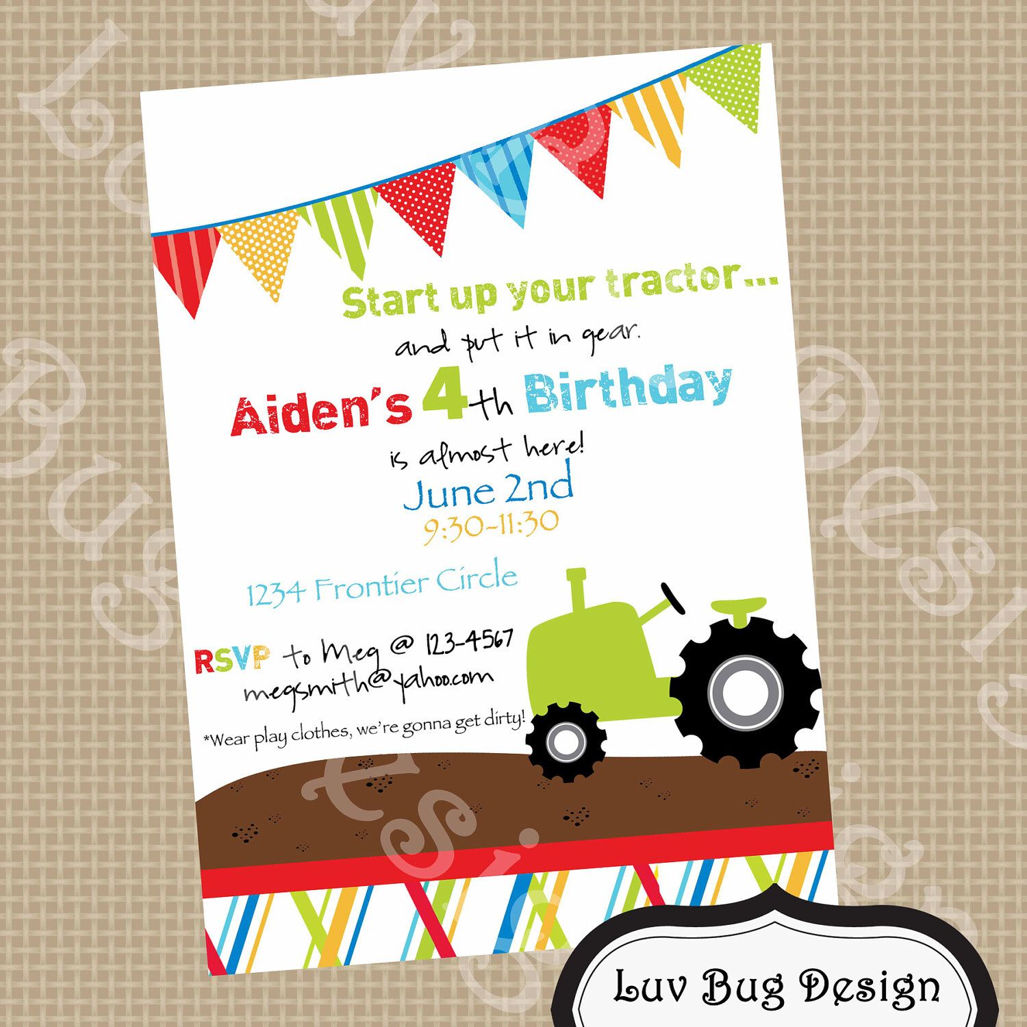 TRACTOR Birthday Party Invite- Printable party invitation by Luv Bug ...