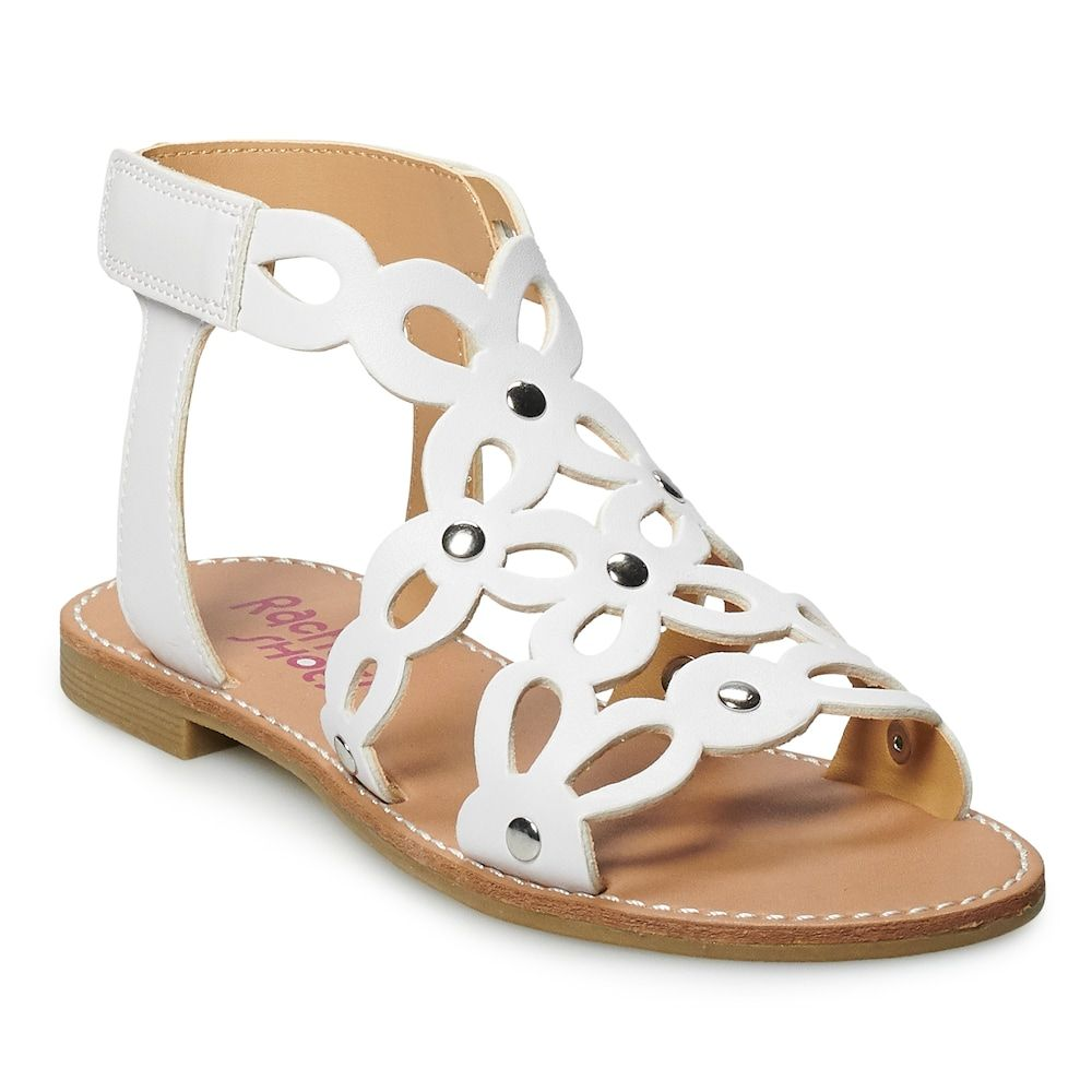Girls Gladiator Sandals Size 2 White Summer Strappy High Top Kids Shoes Flats