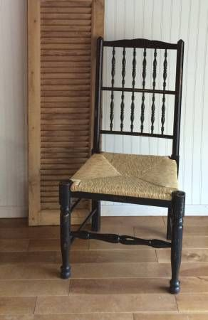 Black Spindle Chair with Rush Seat The Bee's Knees