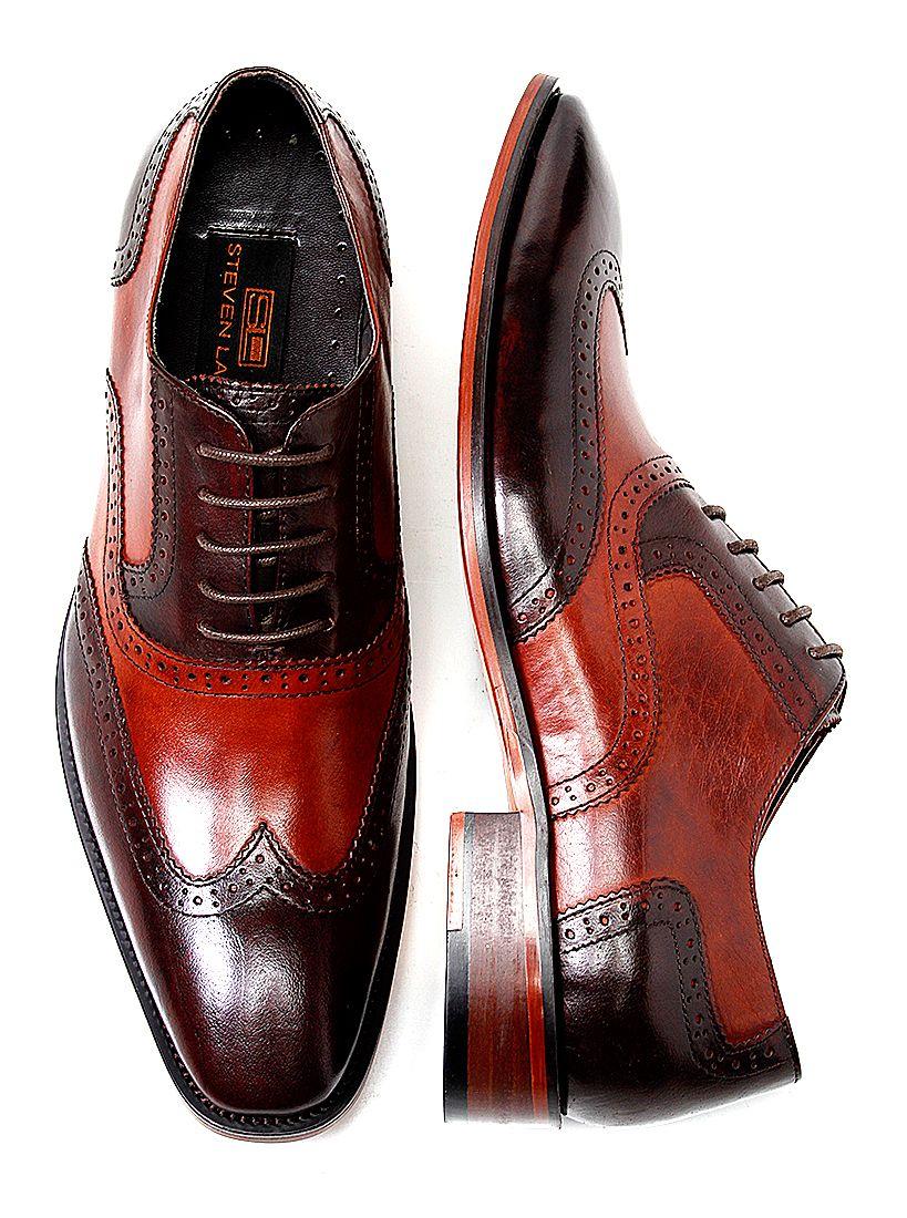 4bdc2e58aa9c9 Steven Land Mens Cognac Brown Wingtips | Shoes | Men dress, Leather ...