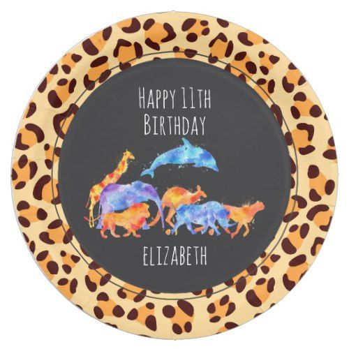 Wild Animals on Exotic Leopard Print Birthday Paper Plate | Wild One ...