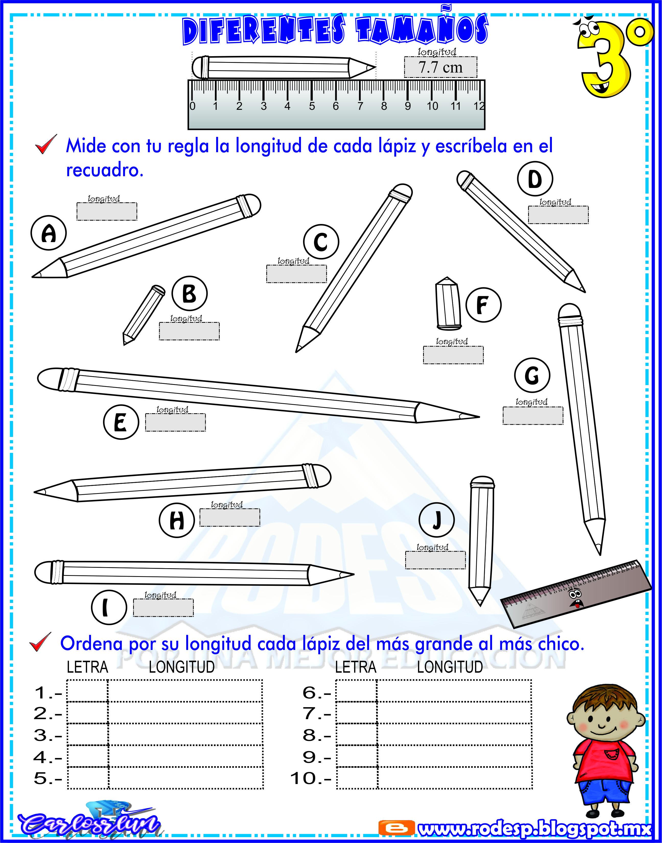 Repaso para medir con regla diferentes lapices \