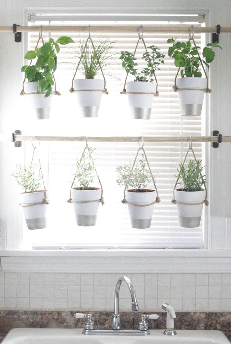 DIY Indoor Hanging Herb Garden // Learn how to make an easy,  budget-friendly ha… Garden