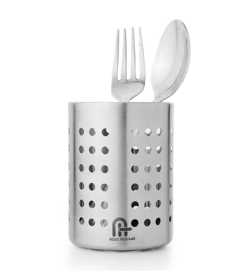 Mosaic Perforated Polka Xxs Cutlery Holder With Small Spoon Rest