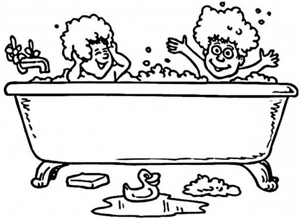 Two Kids Take A Bath With Rubber Duck Coloring Pages Bulk Color