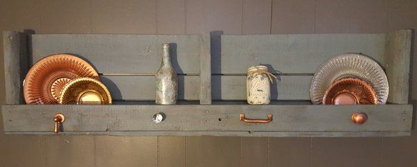 Faded Blue Denim Reclaimed Wood Pallet Shelf | The Rustic Chick Boutique