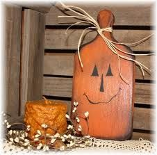 Primitive Fall Wooden Pumpkin Cutting Board Crafts Halloween