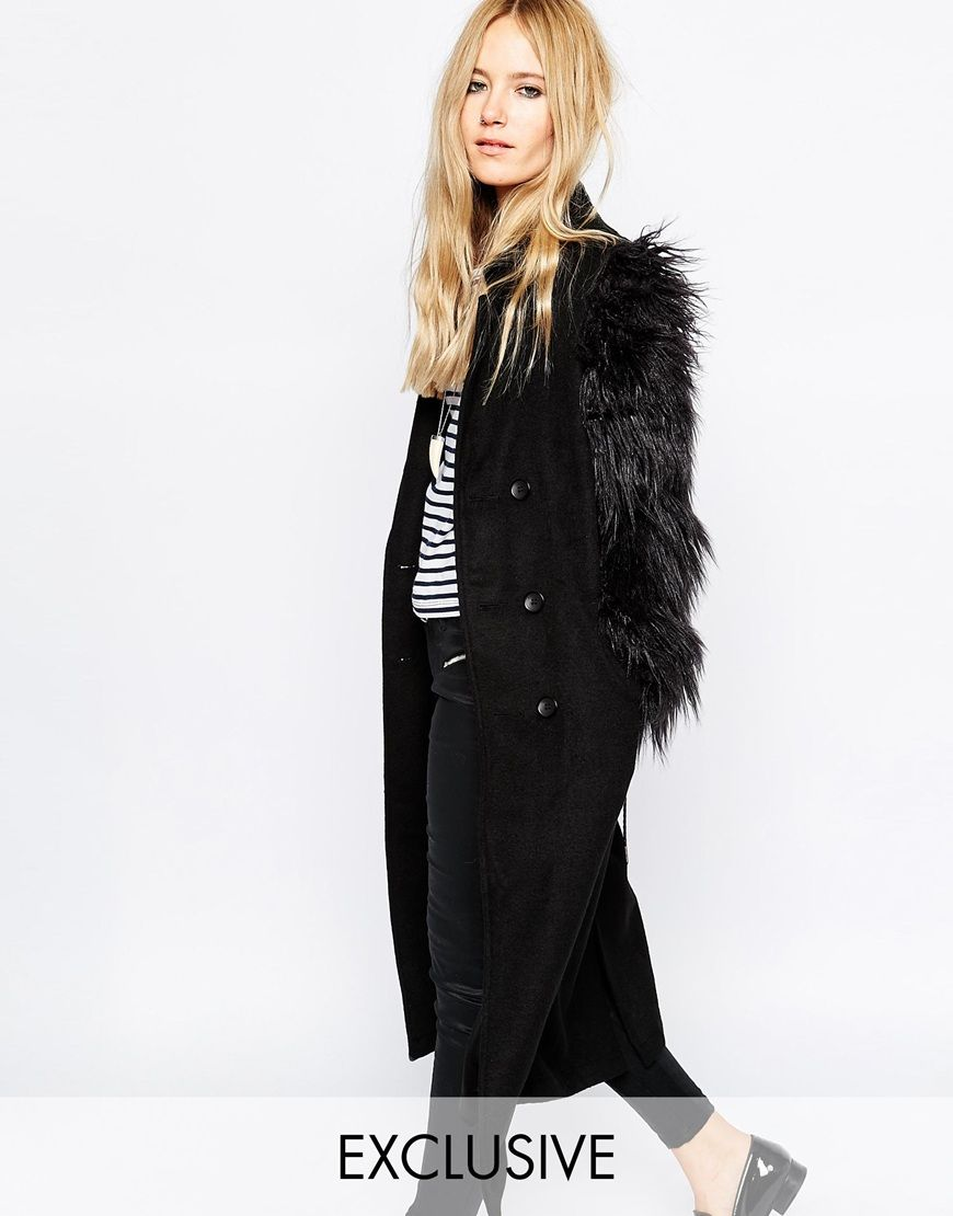 Story Of Lola Tailored Longline Wool Coat With Button Front &amp Faux