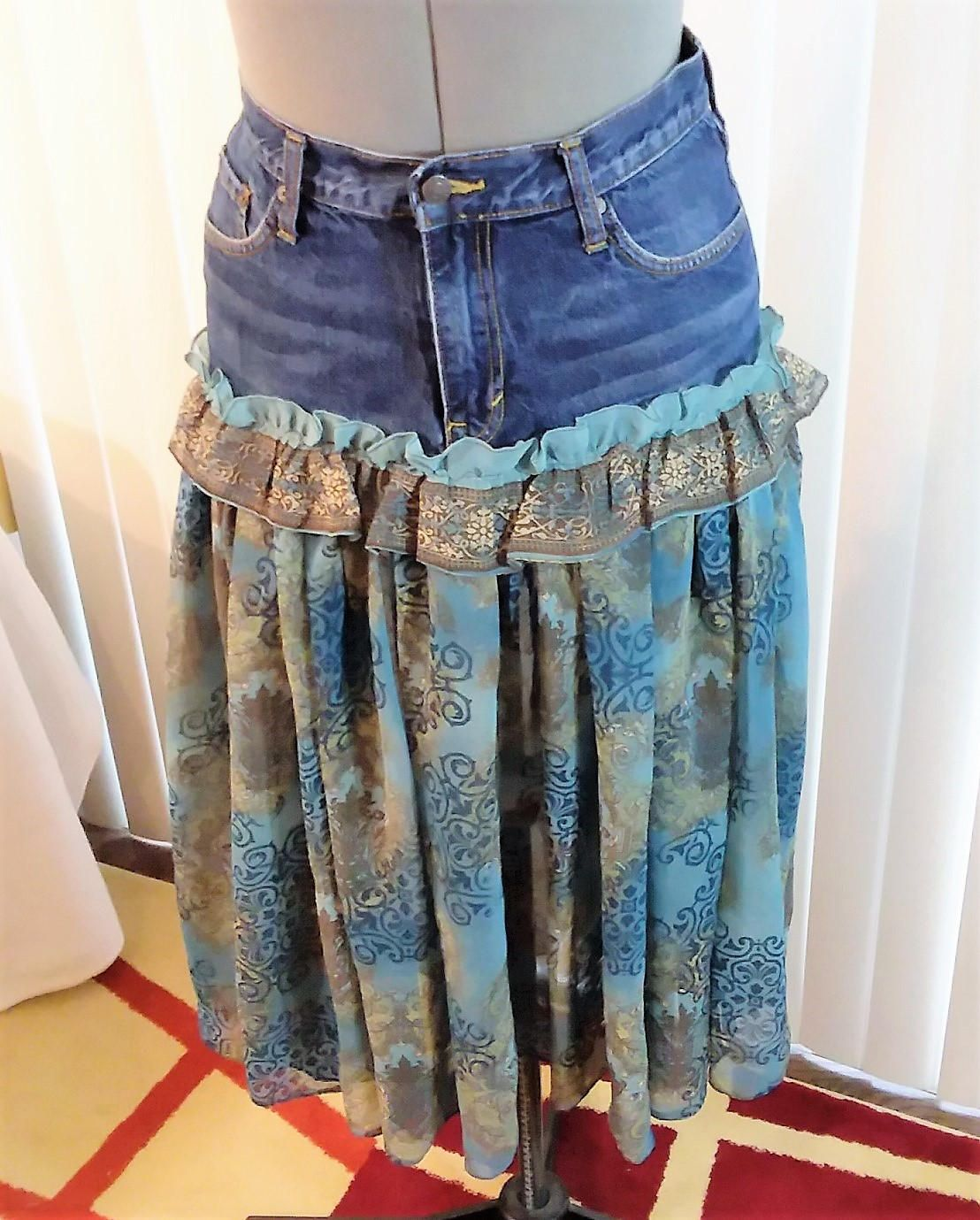 86ecf97b7e Upcycled Recycled Skirt Denim Jeans to Skirt Refashion Altered Couture  Reworked Fashion Remix Subdued Blues Browns w Ruffle Size 30 SKRT3-06 by ...