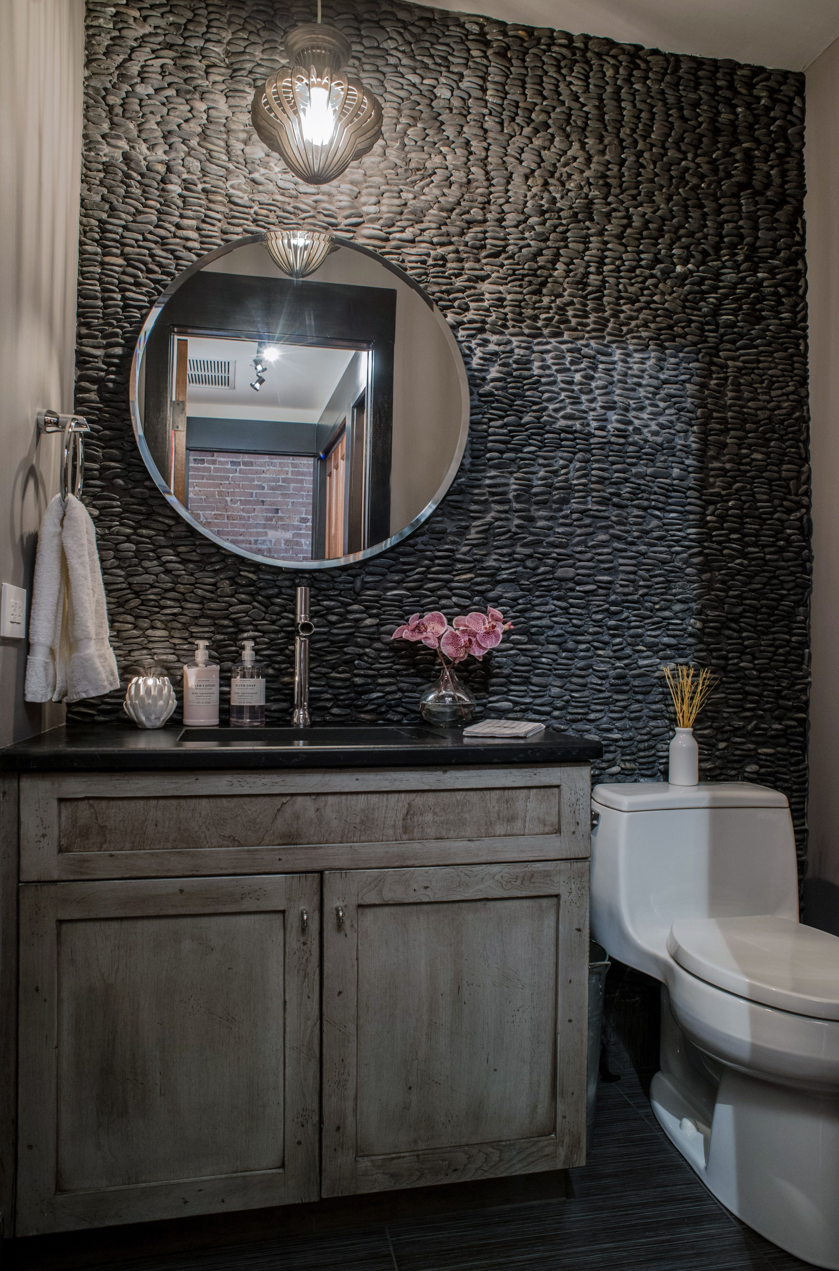 Moody Powder Room With River Rock Wall Powder Room Interior
