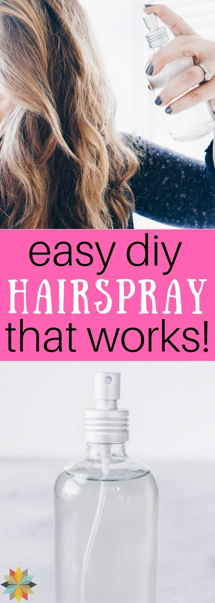 Easy DIY Hairspray that works! is part of Diy hair spray - This Homemade Hair Spray has only 3 ingredients, works great, and is toxin free!