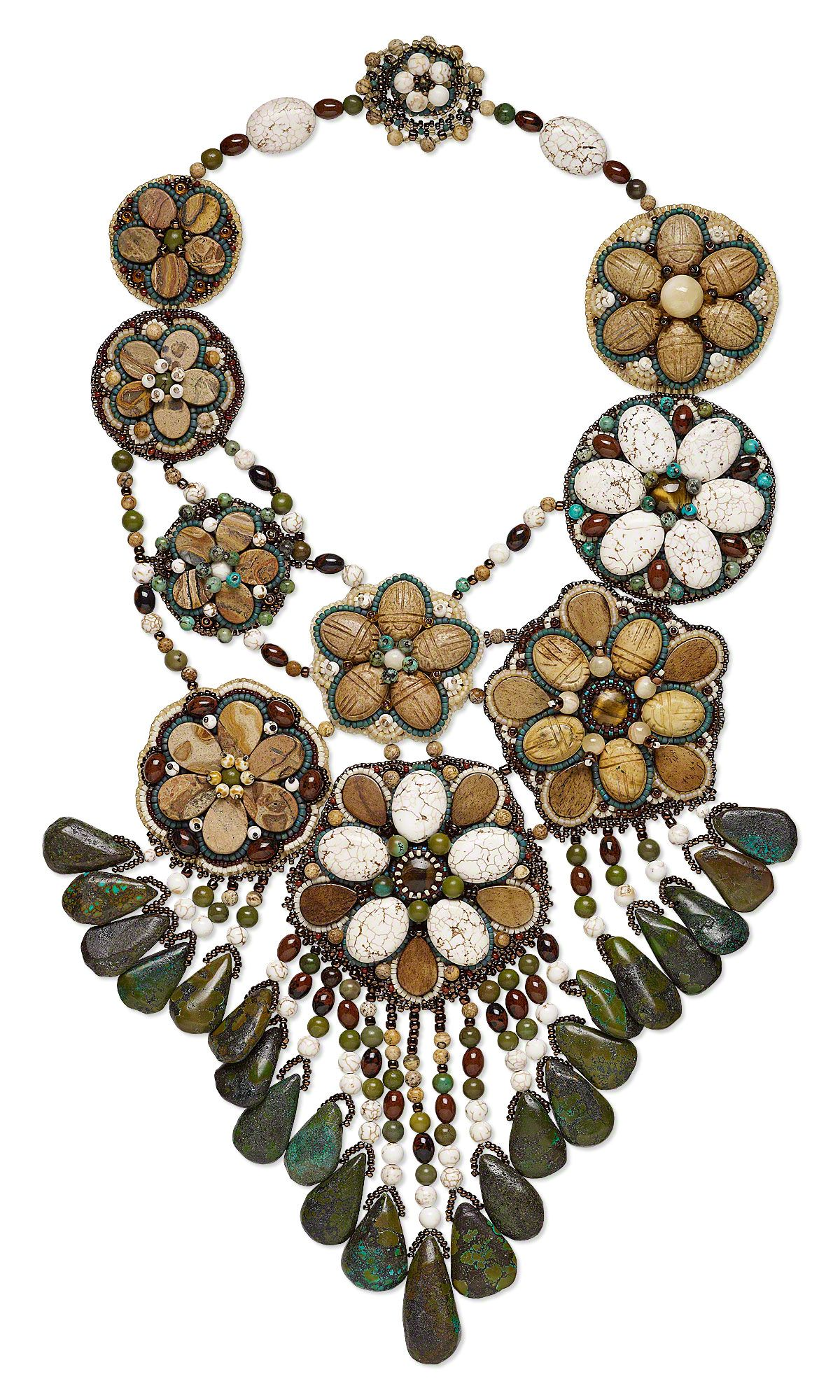 Jewelry Design - Bib-Style Necklace with Gemstone Beads, Bone Drops and Seed Beads - Fire Mountain Gems and Beads