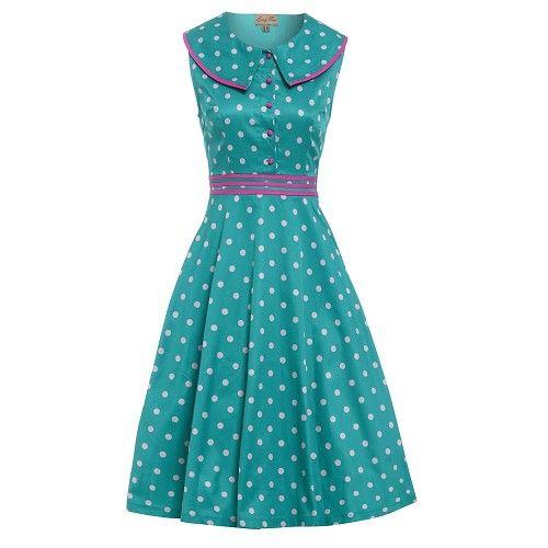 Swing Oona jurk met polkadot stippen en kraag turquoise - Vintage, 50's, Rockabilly