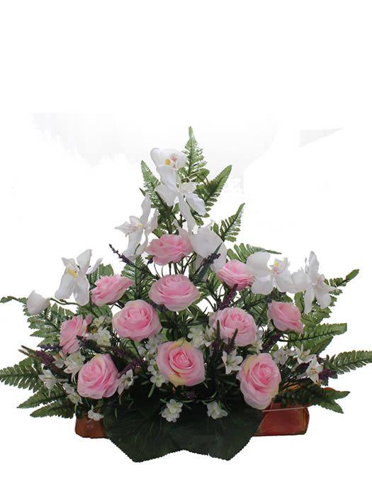 Venta de bucaro y jardineras de plastico para cementerio - Arreglos florales con flores artificiales ...