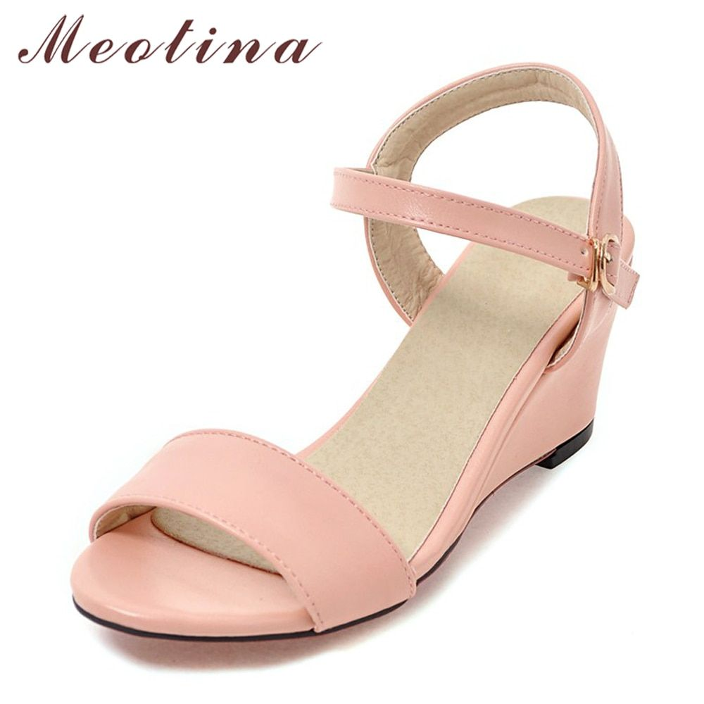 da33223965cf Meotina Shoes Women Sandals Summer Women Wedge Sandals Casual Buckle Ladies  Shoes Open Toe High Heels Pink White Black 34-43 Price  35.98   FREE  Shipping   ...