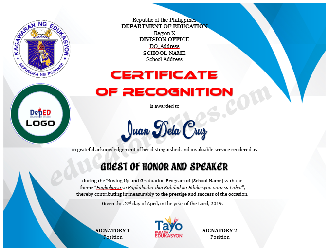 Certificate Of Recognition For Guest Of Honor And Speaker Template 2 In 2020 Certificate Of Recognition Template School Award Certificates Recognition
