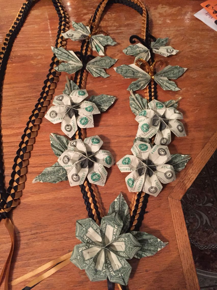 Plumeria With Butterfly Money And Ribbon Lei Great Gift For Graduation Money Lei Diy Money Origami Creative Money Gifts