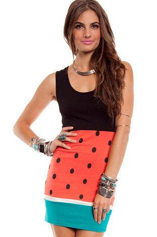 A Watermelon Dress!!! love love love  Reverse Watermelon Tank Dress $24 at www.tobi.com