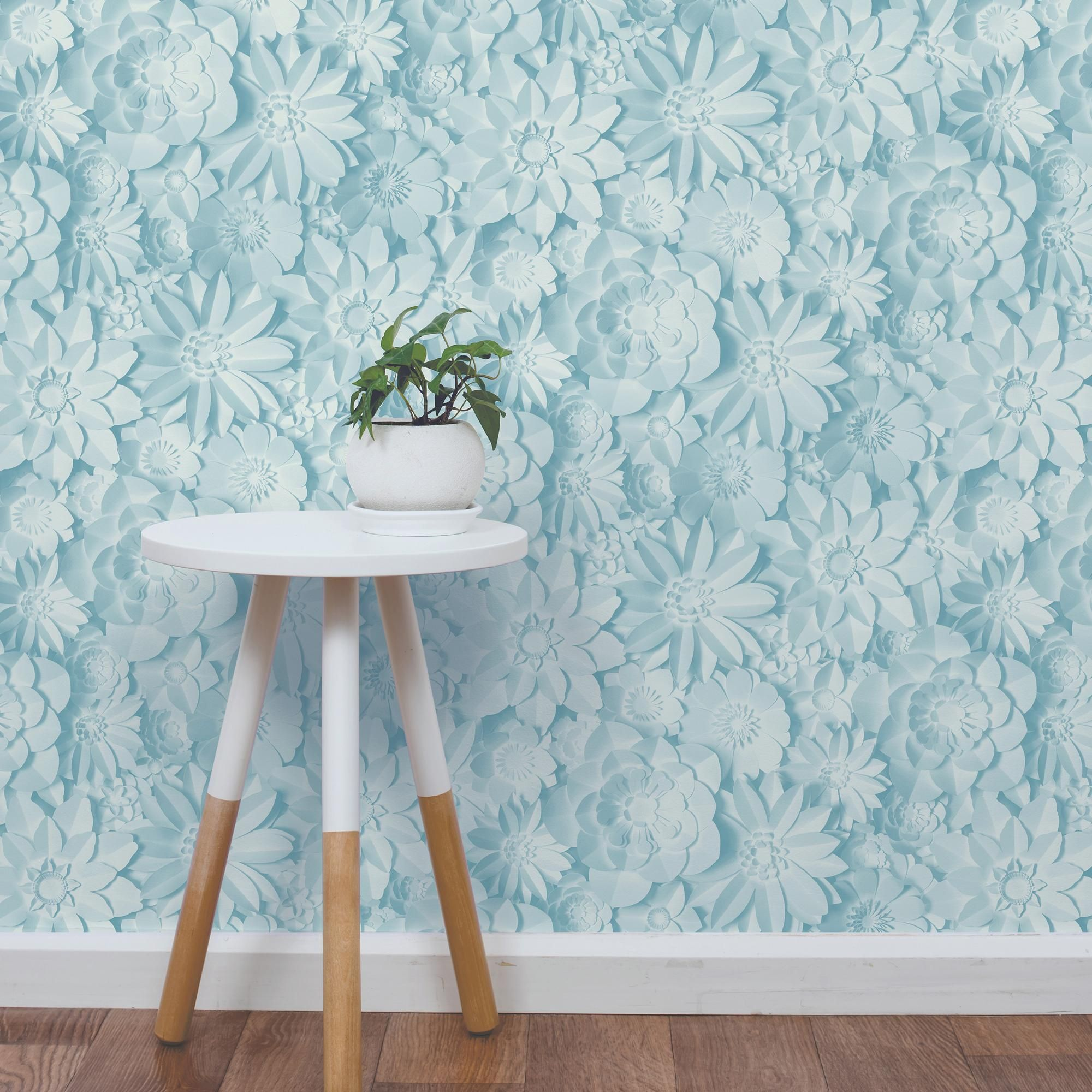 Dimensions Teal Floral 3D Wallpaper in 2020 Teal
