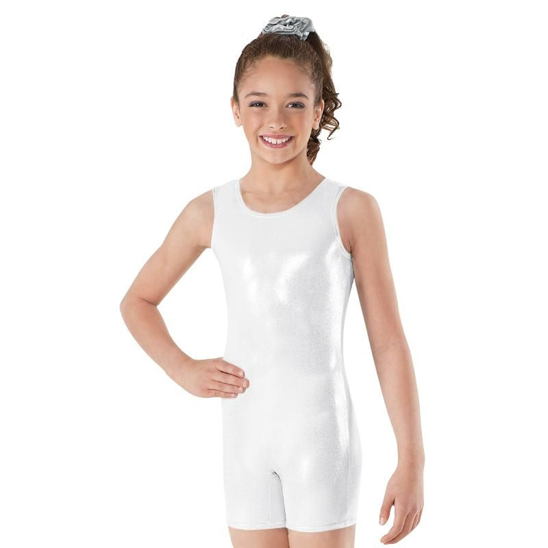 Girls Shiny Metallic Ballet Dance Leotard Sleeveless Gymnastics Jumpsuit Unitard