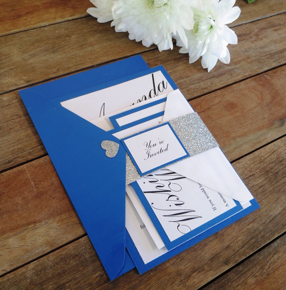 Royal blue, glittery silver and shiny white wedding